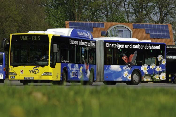 Schadstoffarme Busse mit moderner Informationstechnik tragen maßgeblich zum Erfolg der VWG bei.