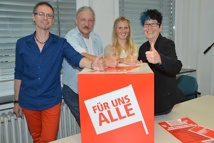Noch in dieser Woche startet die DGB-Kampagne zur Bundestagswahl, geplant von rund 40 Ehrenamtlichen. Axel Opitz, Frank Wegener, Anna Koch und Dorothee Jürgensen kämpfen für einen Politikwechsel.