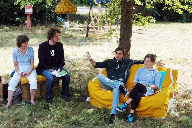 Ina Lehnert-Jenisch, Amon Thein, Lars Kaempf und Katrin Windheuser im Rahmen der Freifeld Pressekonferenz auf dem Gelände der ehemalige Donnerschweer Kaserne.