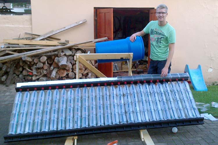 Finn Gerdes entwickelte für Townships ein solarbetriebenes Wassererhitzungssystem.