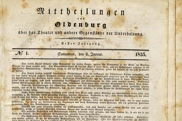 Die Landesbibliothek Oldenburg hat die Mittheilungen aus Oldenburg über das Theater und andere Gegenstände der Unterhaltung ins Netz gestellt.