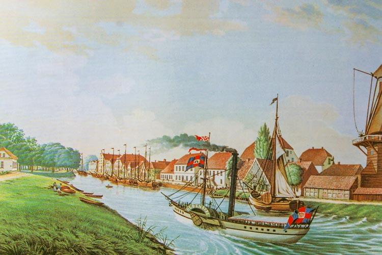 Dampfschiff am Stau um 1845.