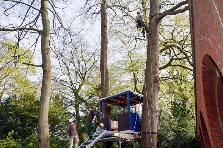 n dieser Woche werden fünf Baumhäuser im Oldenburger Schlossgarten installiert.
