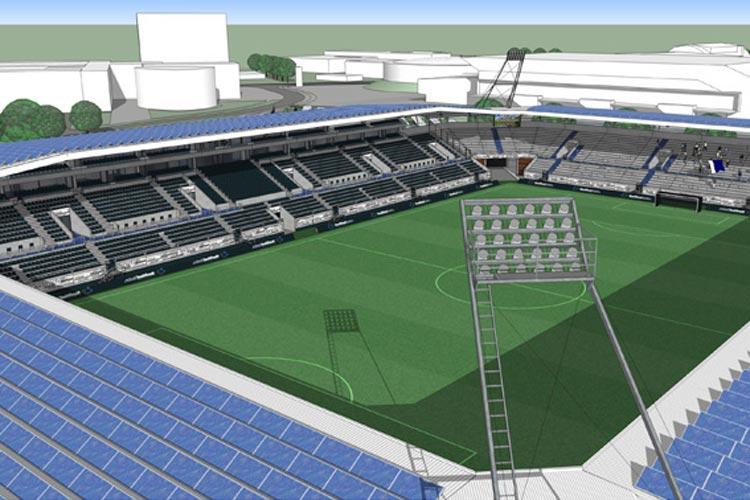So könnte das neue Fußballstadion aussehen.