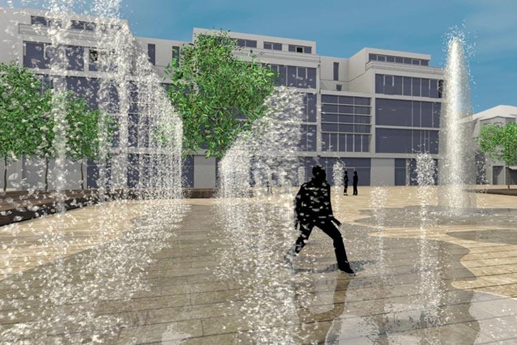 Wasserfontänen werden für Spielspaß sorgen.