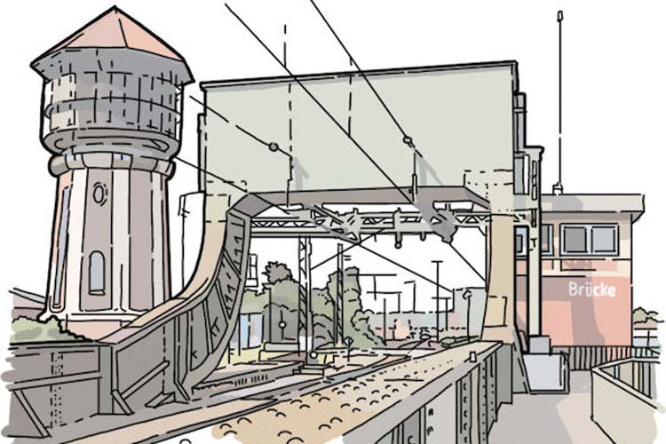 Digitale Malerei des Grafikers Thomas Robbers. Hier Oldenburgs Wasserturm und die Eisenbahnbrücke.