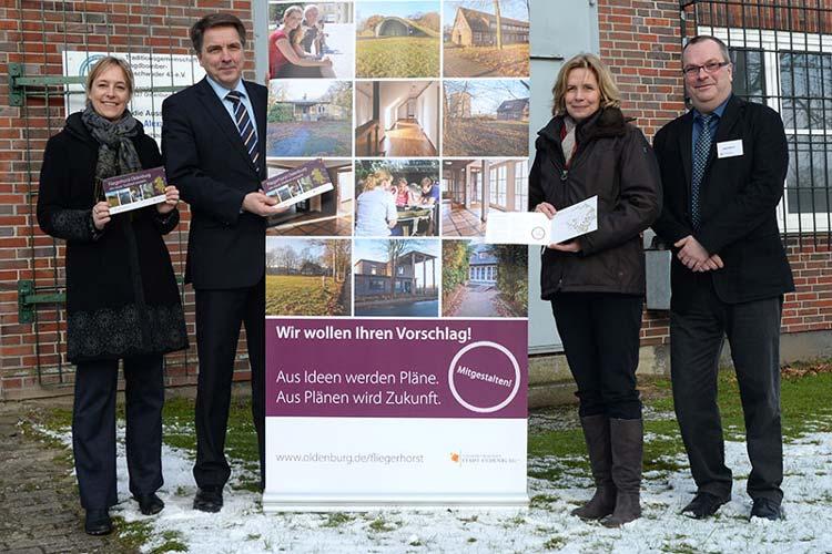 Sonja Hörster, Jürgen Krogmann, Gabriele Nießen und Axel Müller stellten die Pläne zur Bürgerbeteiligung zum Oldenburger Fliegerhorst vor.