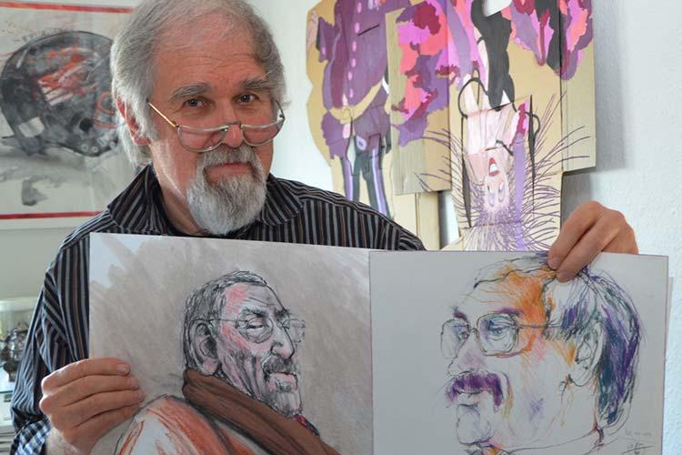 Zu den von Klaus Beilstein Porträtierten gehört unter anderem Michael Daxner, ehemaliger Präsident der Universität Oldenburg, der in der Ausstellung zu sehen ist.