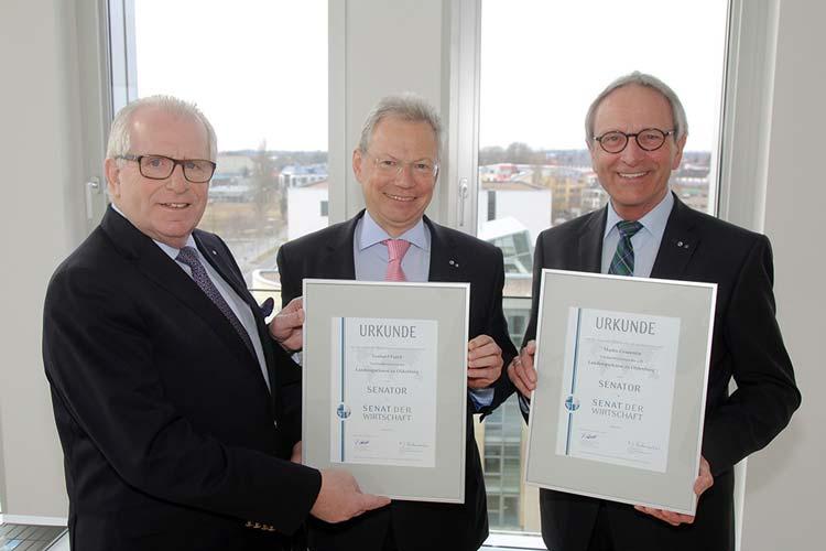 Gerhard Fiand, LzO-Vorstandsvorsitzender, und der ehemalige LzO-Vorstandsvorsitzende Martin Grapentin sind zu Senatoren der Wirtschaft berufen worden.