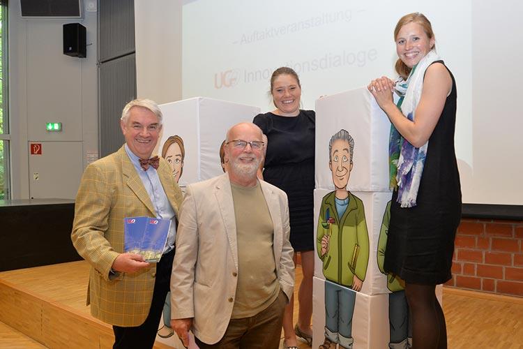 Michael Wefers, Gerhard Harms, Miriam Wiediger und Dr. Stephanie Birkner (von links) sehen in den Gründungen aus der Wissenschaft heraus viel Potenzial für die Region.