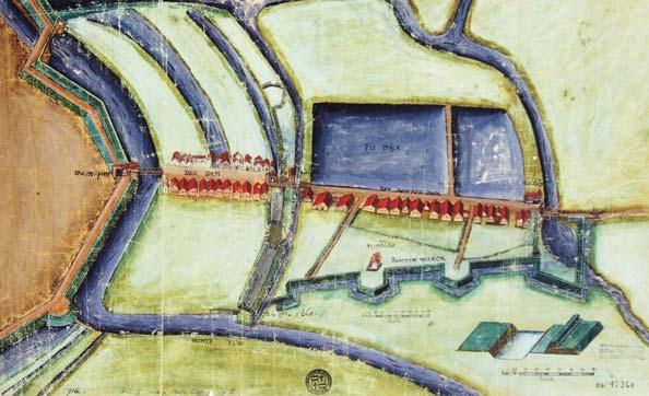 Der Damm von der Dammpforte bis zum Blauen Haus um 1618.