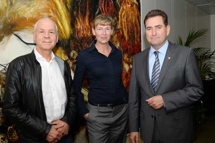 Matthias Politycki, Monika Eden und Jürgen Müllender stellten den Literarischen Landgang vor.