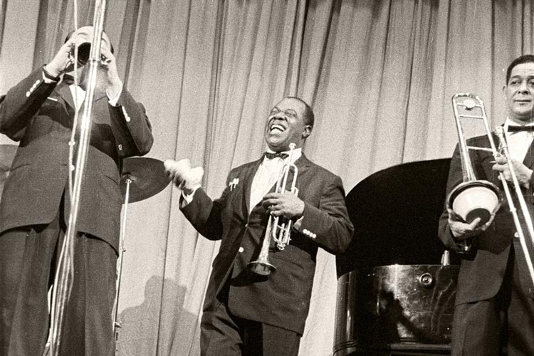 Louis Armstrong in der Weser-Ems Halle 1958.