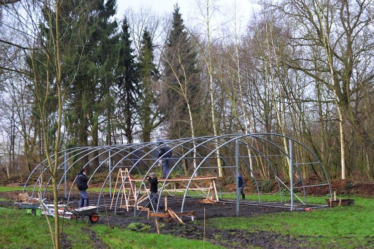 Zurzeit entsteht auf dem Rohdenhof ein zweites Gewächshaus.