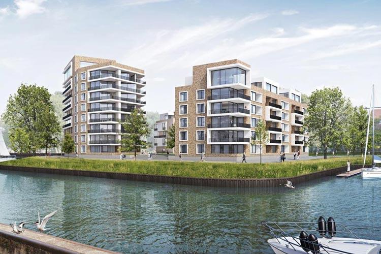 An der Doktorsklappe am Oldenburger Hafen entstehen 95 Wohneinheiten.