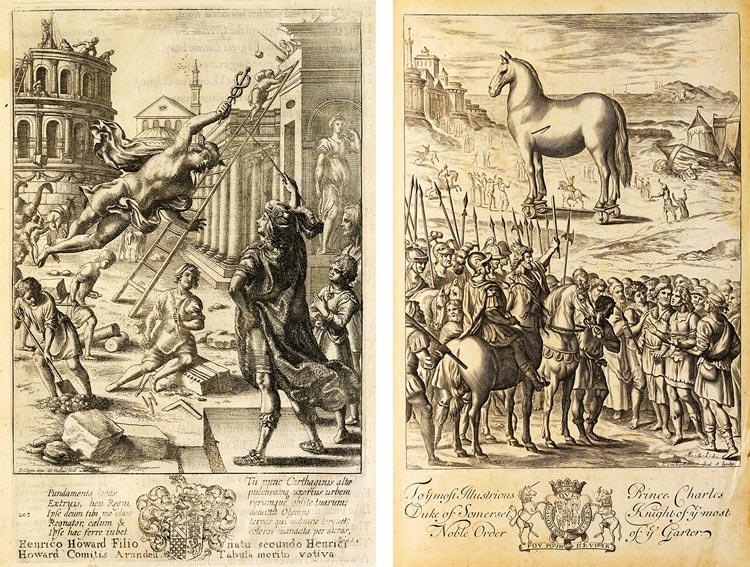 Götterbote Mercurius überbringt Aeneas die Botschaft Jupiters. Trojanisches Pferd.