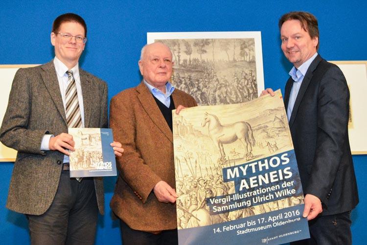 Prof. Dr. Michael Sommer, Dr. Ulrich Wilke und Dr. Andreas von Seggern stellten die Ausstellung Mythos Aeneis des Stadtmuseums Oldenburg vor.