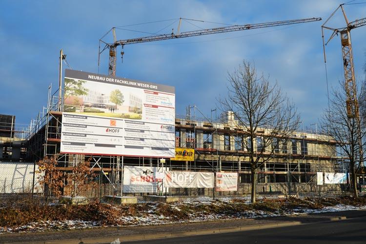 Im Oldenburger Stadtteil Kreyenbrück wird derzeit die Fachklinik Weser-Ems gebaut.