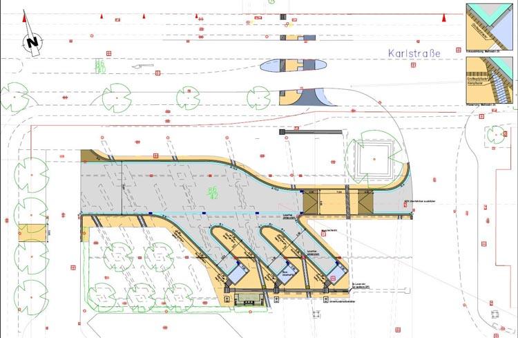"""In einem ersten Schritt sollen drei """"Taschen"""" der Fernbushaltestelle gebaut werden."""