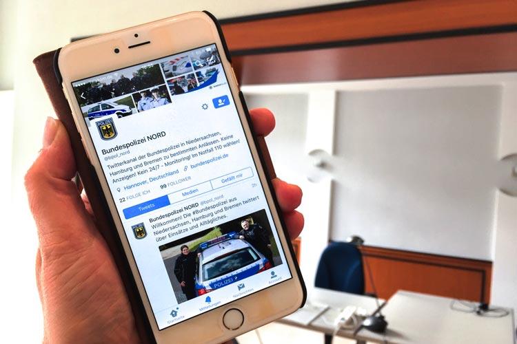 Die Bundespolizeidirektion Hannover twittert als @bpol_nord.