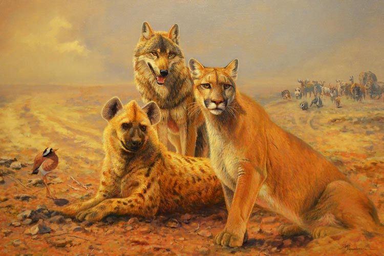 Sammeln vor der zweiten Arche nennt Bernd Pöppelmann sein Gemälde.