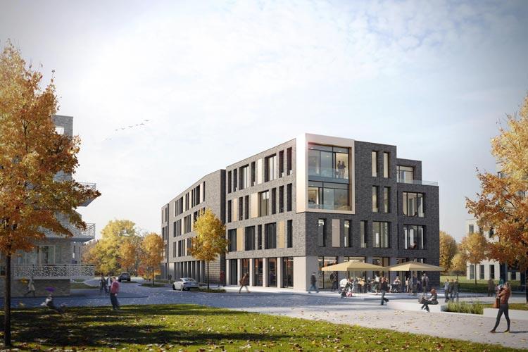 Das neue Bürogebäude am Hunteplatz in Oldenburg soll 2017 bezugsfertig sein.