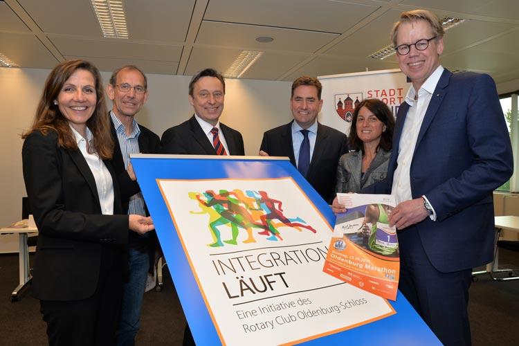 Stellten das Projekt Integration läuft in Oldenburg vor: Andrea Reschke, Dirk Spekker, Dr. Gero Büsselmann, Jürgen Müllender, Geraldina Topo und Frank Reiners.