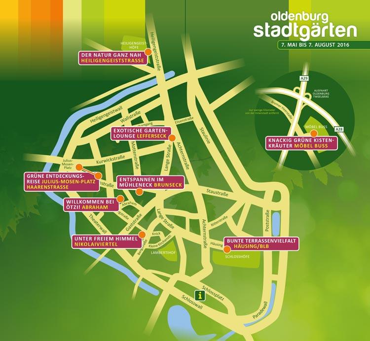 Übersichtskarte der Oldenburger Stadtgärten.