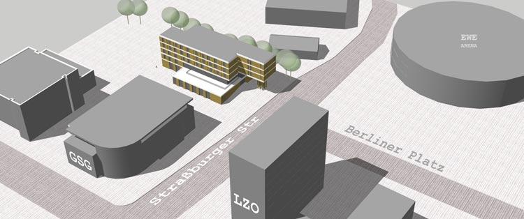 Das Gebäude der neuen Jugendherberge soll mit der Schmalseite zum Berliner Platz ausgerichtet werden, zwei Riegel werden sich aneinander vorbeischieben. So die bisherigen Planungen.