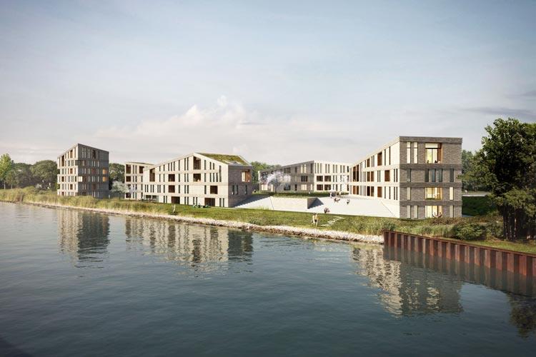 Entlang der Bundesstraße 401 in einem Dreieck am Küstenkanal sollen demnächst 74 neue Wohnungen in Oldenburg entstehen.