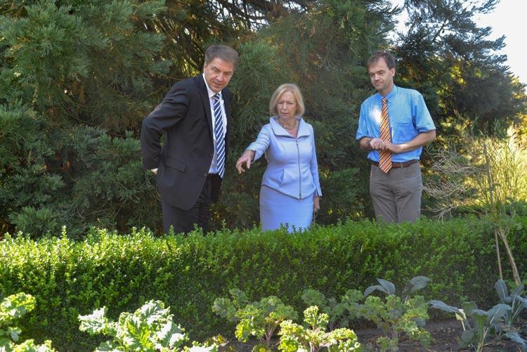 Grünkohl direkt von der Pflanze: Jürgen Krogmann, Johanna Wanka und Dirk Albach probierten im Botanischen Garten die Oldenburger Palme.