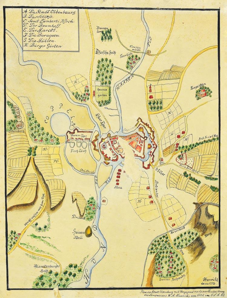Plan der Stadt Oldenburg mit Umgegend (1702).