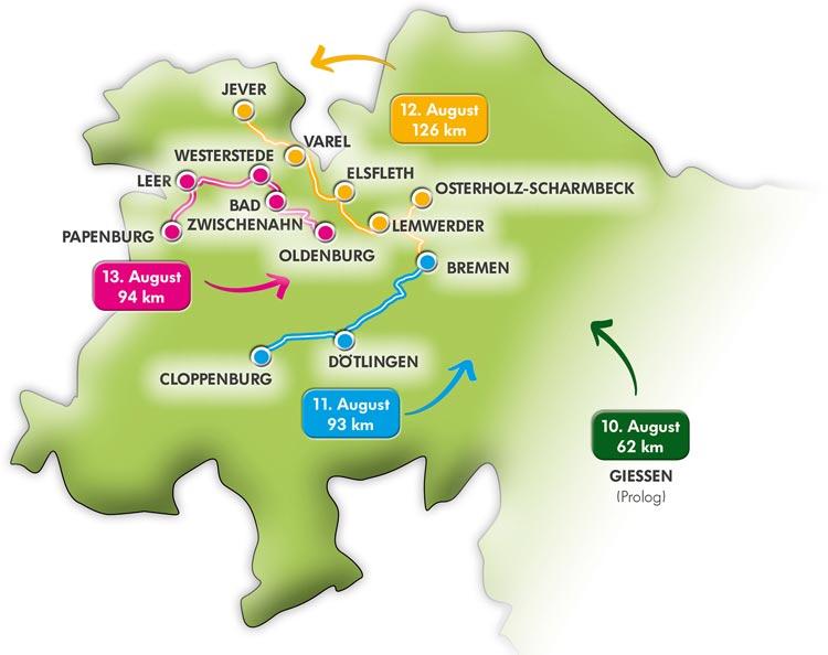 Die Strecke der Tour der Hoffnung 2016 führt durch den Nordwesten.