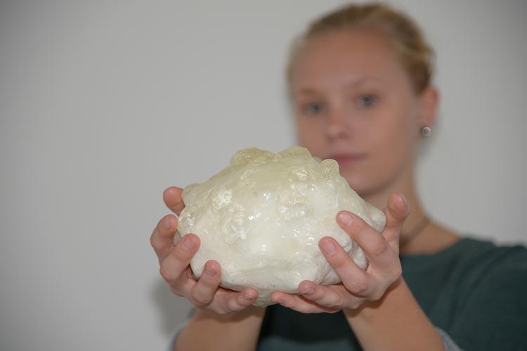 Modell des mit rund 880 Gramm schwersten dokumentierten Hagelkorns.