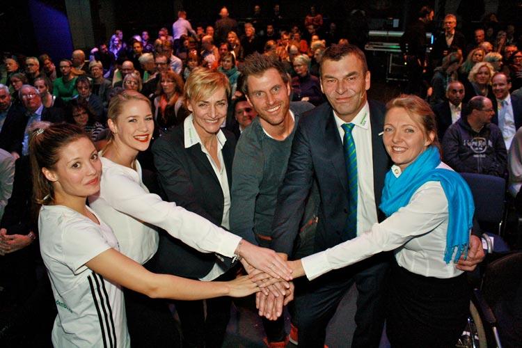 Ruth Spelmeyer, Moderatorin Janina Hinrichs, Heike Drechsler, Felix Klemme, Holger Vosgerau und Andrea Klose.