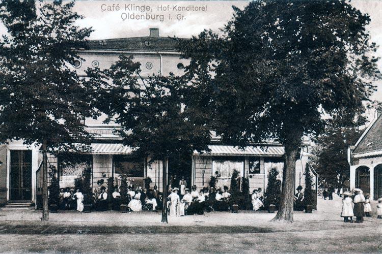 Café Klinge am Oldenburger Theaterwall, 1913 fotografiert, existiert noch heute.