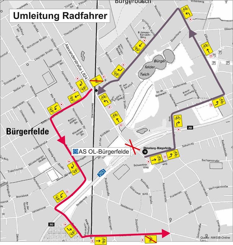 Radfahrer und Fußgänger können die Alexanderstraße während des Wochenendes nicht passieren und müssen Umleitungen fahren.