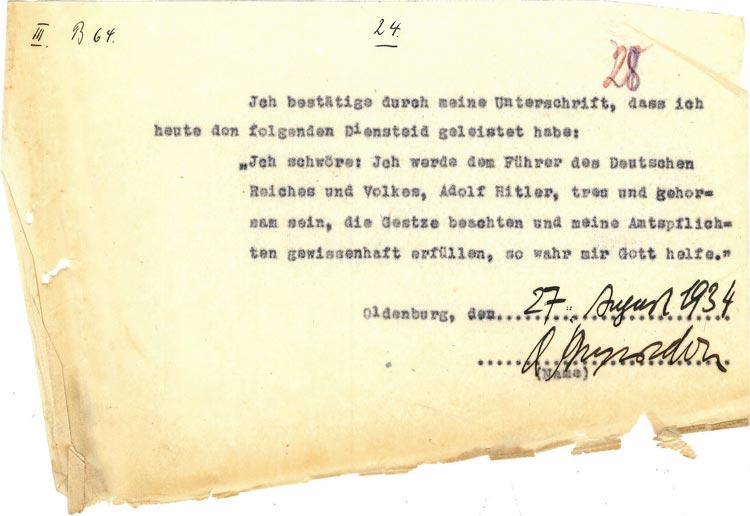 Diensteid Ernst Beyersdorff, 27. August 1934.