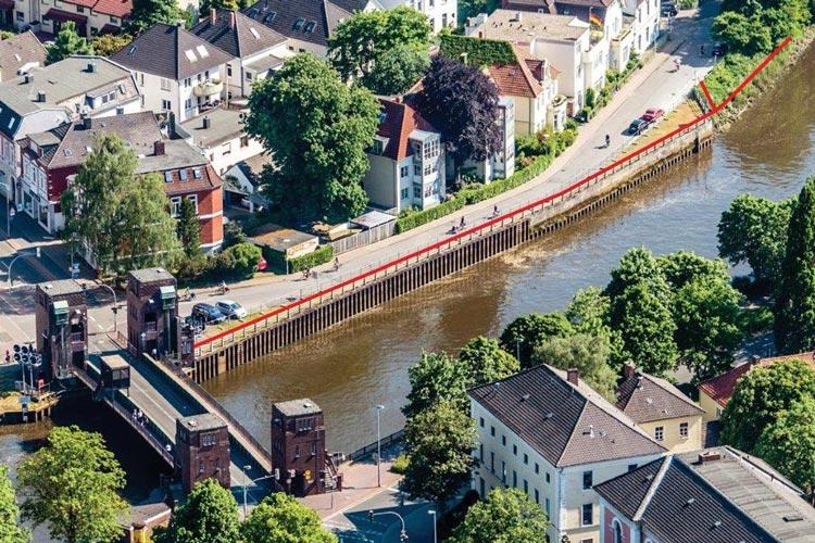 Die Uferwand an der Herman-Ehlers-Straße in OLdenburg wird erneuert.