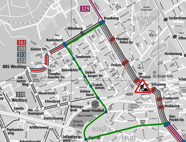 Einige Buslinien der Verkehr und Wasser GmbH (VWG) ändern ihre Streckenführung.