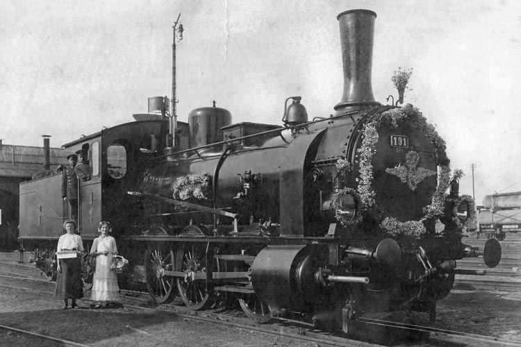 Dampflok Mecklenburg, Nr. 191, Bj. 1909 bei Hanomag, um 1917.