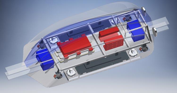 Innenansicht des geplanten Hyperloop-Pods.