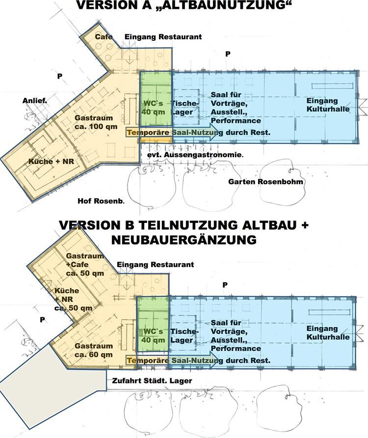 Die Planer haben zwei mögliche Versionen skizziert.