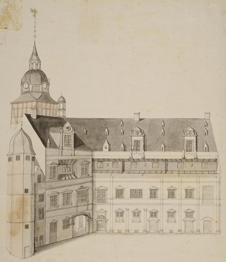 In einer Kabinettschau werden Zeichnungen und Modelle des Oldenburger Schlosses präsentiert.