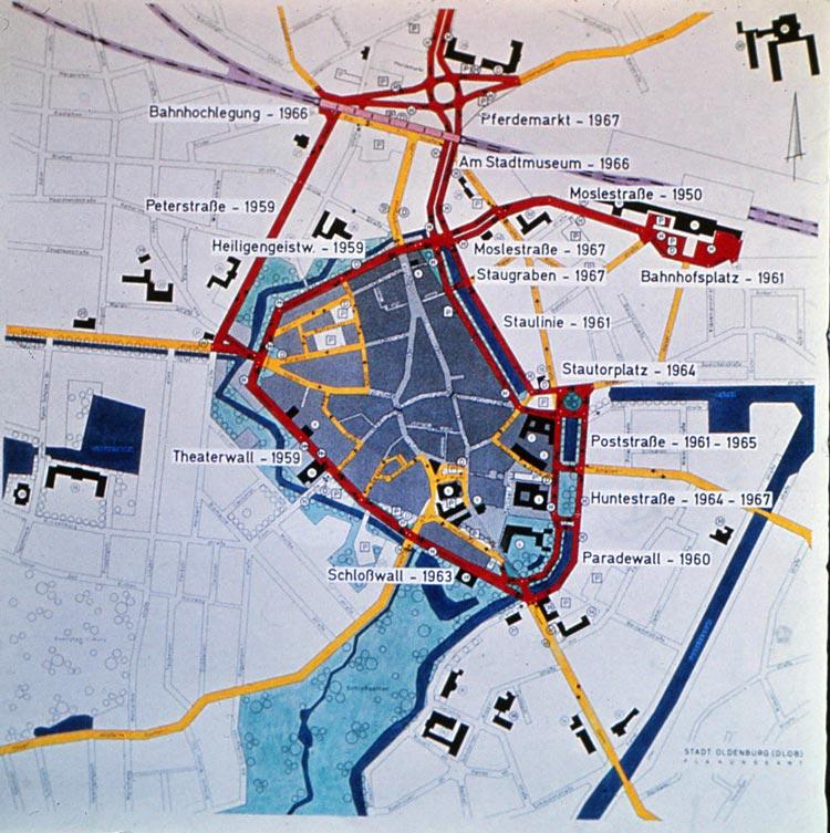 Ausbauplan des Rings um die Oldenburger Altstadt (1950 bis 1967).