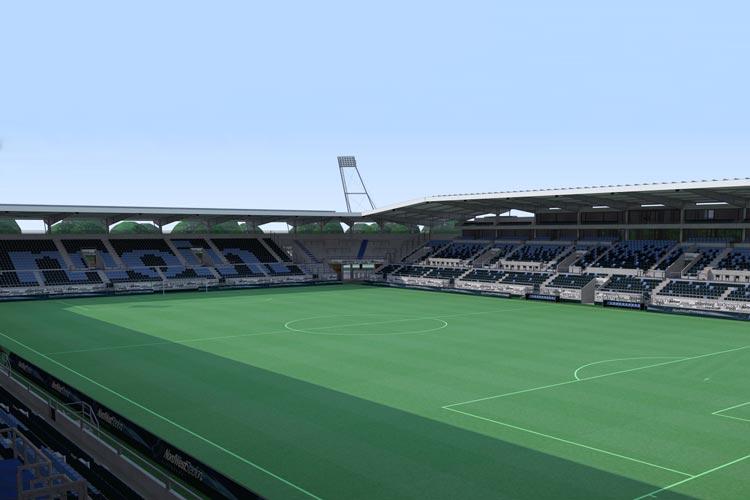 Derzeit eher Vision: Das Modell eines neuen Fußballstadions für Oldenburg.