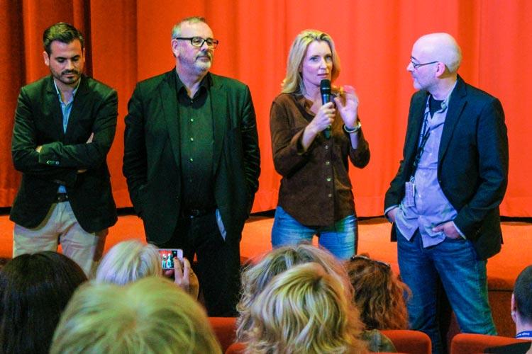 Die NDR-Redakteure Christoph Pellander und Christian Granderath, Schauspielerin Maria Furtwängler und Filmfestchef Torsten Neumann stellten in Oldenburg den Tatort Der Fall Holdt vor.