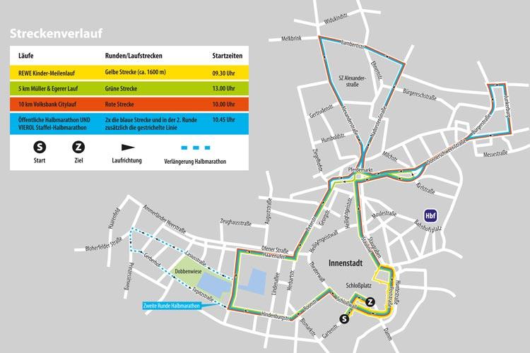 Streckenverlauf des diesjährigen Oldenburg-Marathons.
