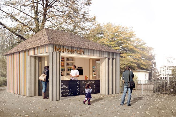 So könnte das neue Häuschen an der Mühlenhunte aussehen. Geplant ist, ein gastronomisches Angebot zu installieren.