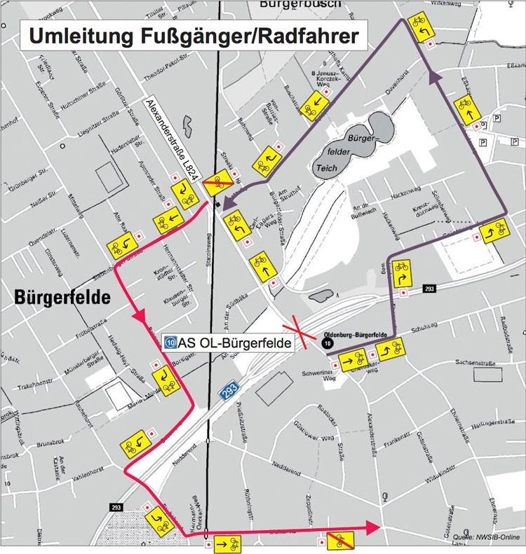 Während der Abrissarbeiten an der Alexanderstraße gibt es Umleitungen für Radfahrer und Fußgänger.